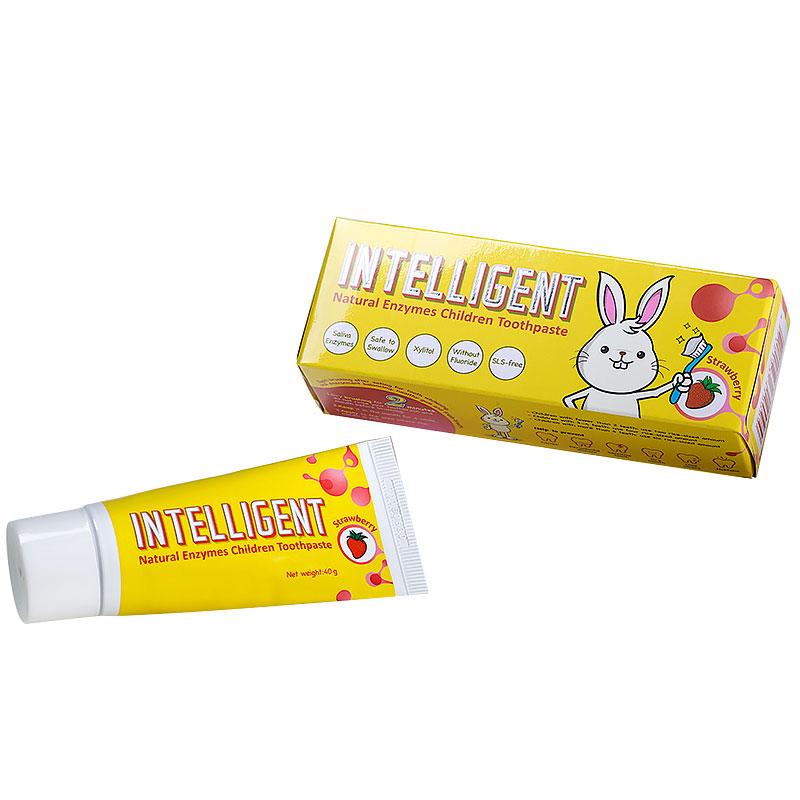 因特力净Intelligent儿童酵素牙膏草莓味40g纯天然生物酶制造还原口腔生态草莓味宝宝牙膏