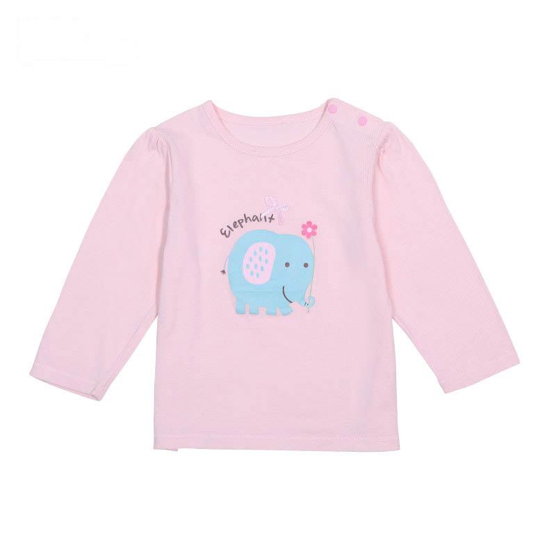 歌瑞贝儿A类女宝宝粉色单面布肩开上衣