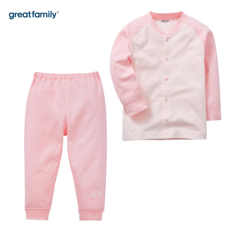 歌瑞家(Greatfamily)A类女宝宝纯棉粉色内衣/对襟套装