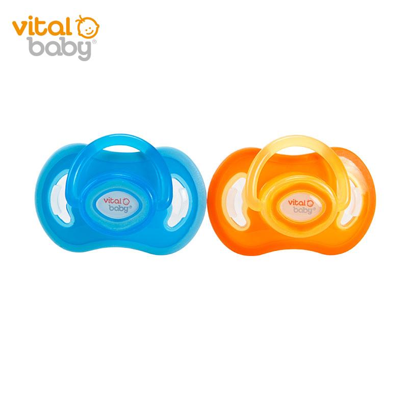 韦特儿Vital硅胶安抚奶嘴M(6-12月)2支/盒蓝色/橙色