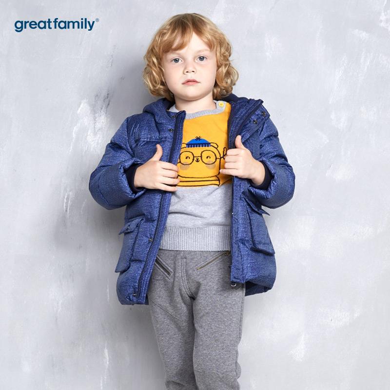 歌瑞家(Greatfamily)A类男童藏青色大口袋连帽羽绒服