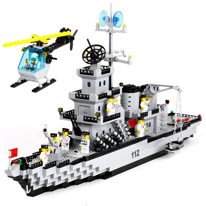 启蒙益智拼装积木儿童玩具立体拼插巡洋战舰