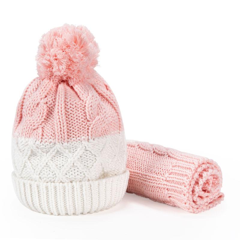 歌瑞家女童粉色针织帽两件套