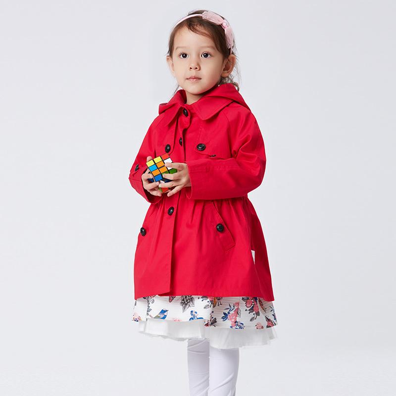 歌瑞家A类红女童风衣