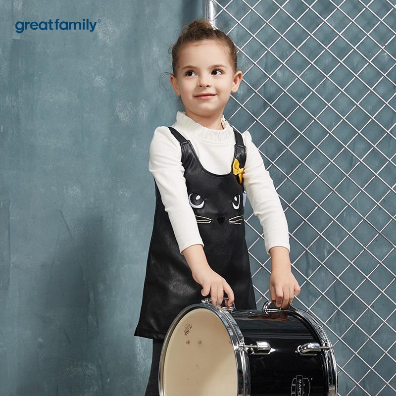歌瑞家(Greatfamily)A类酷帅宝贝女童黑色PU材质小猫图案白色螺纹花边领套装