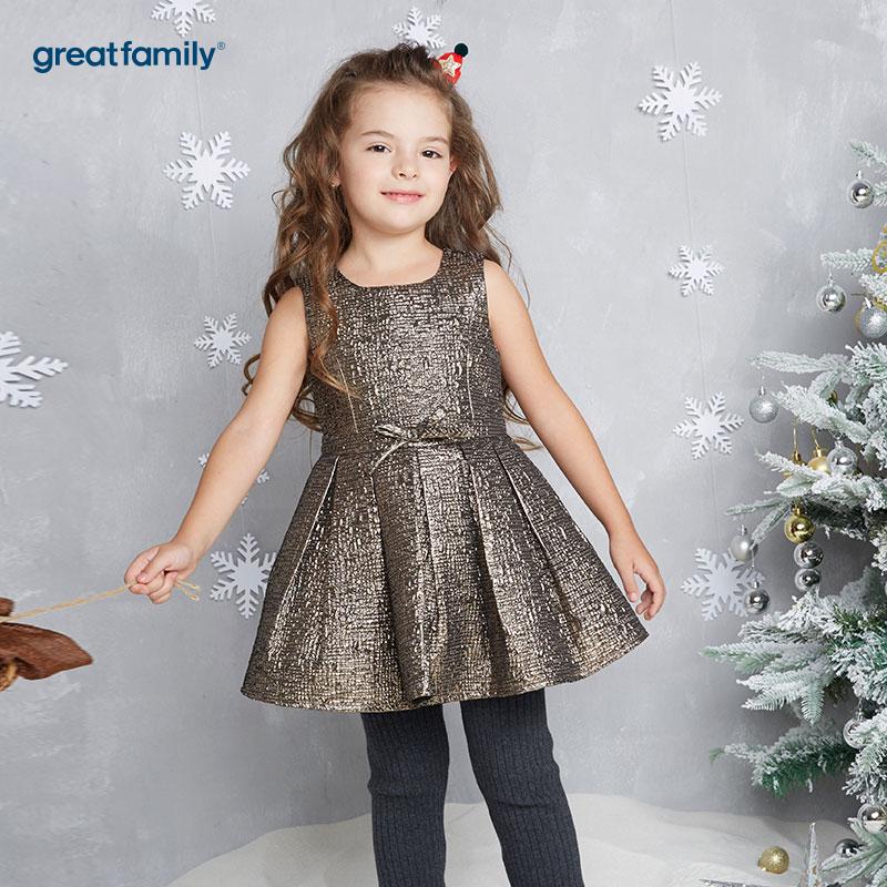 歌瑞家(Greatfamily)A类女童金色圣诞系列礼服裙