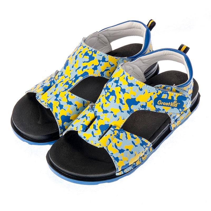 歌瑞凯儿男婴迷彩沙滩鞋GK152-001SH蓝16cm
