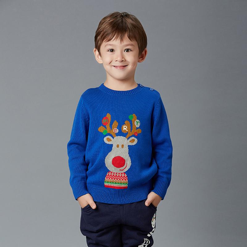歌瑞家(圣诞系列)男童仿毛呢大衣蓝