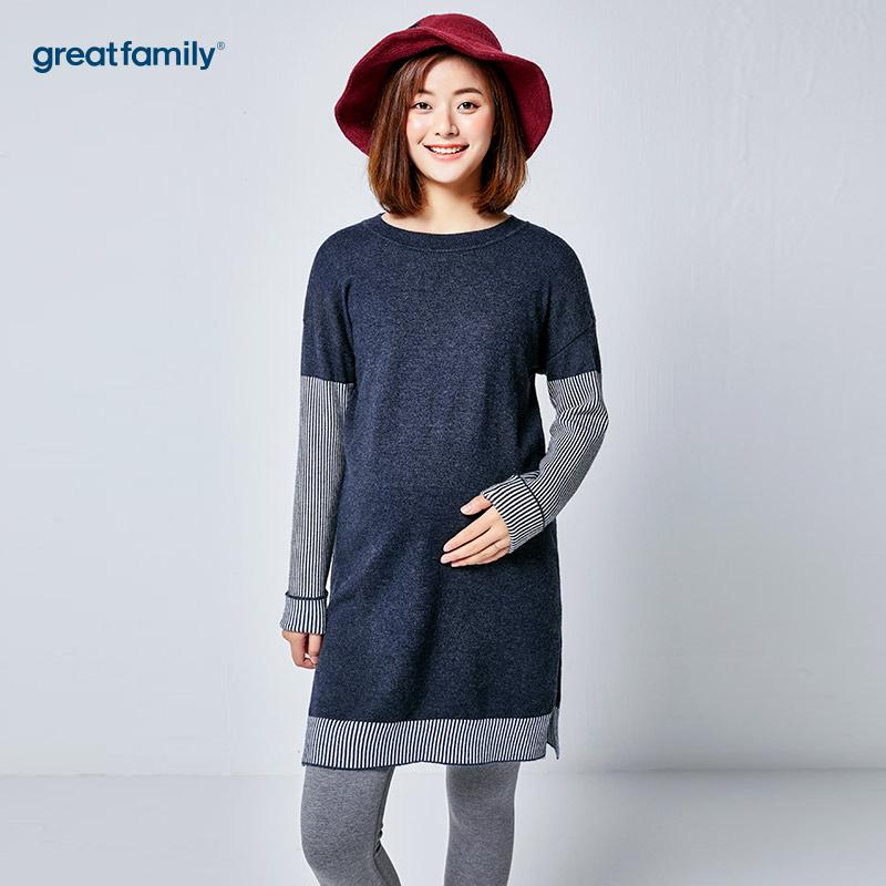 歌瑞家(greatfamily)蓝色中长款针织衫
