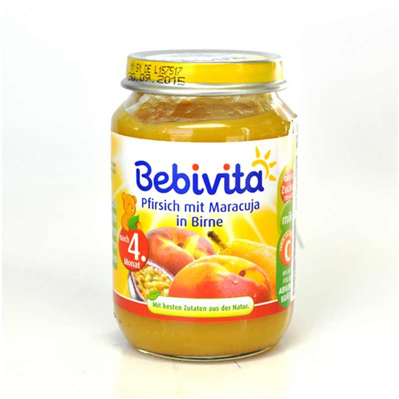 Bebivita贝唯他西洋梨桃子百香果泥190g瓶匈牙利