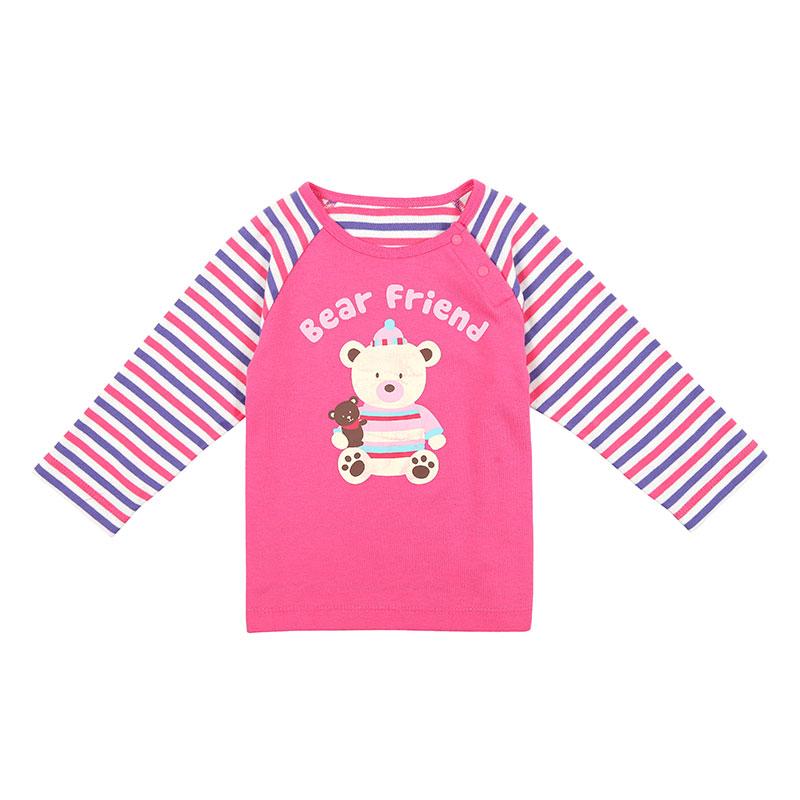 歌瑞家A类女宝宝粉色双面布插肩袖卡通T恤