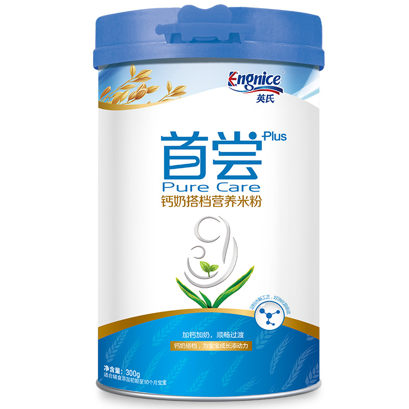 英氏Engnice首尝钙奶搭档营养米粉300g/听 6个月以上