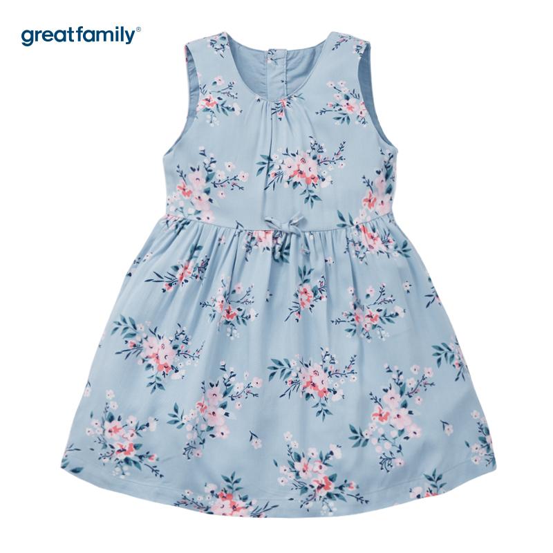 歌瑞家(Greatfamily)A类可爱精灵女童浅蓝色印花圆领背心裙