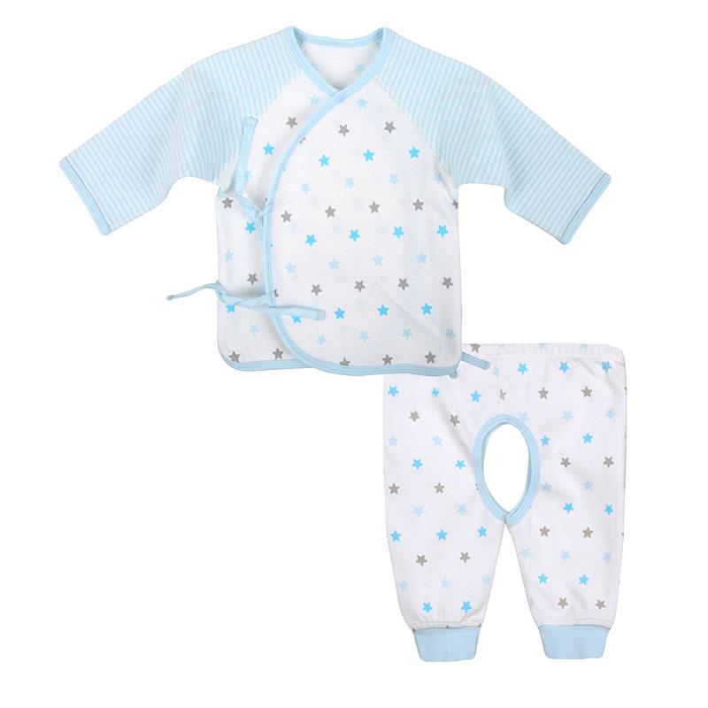 歌瑞贝儿A类男婴蓝色纯棉和短袍套装