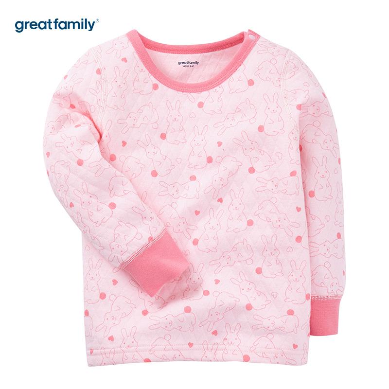 歌瑞家(Greatfamily)A类女童花色三保暖圆领长袖内衣