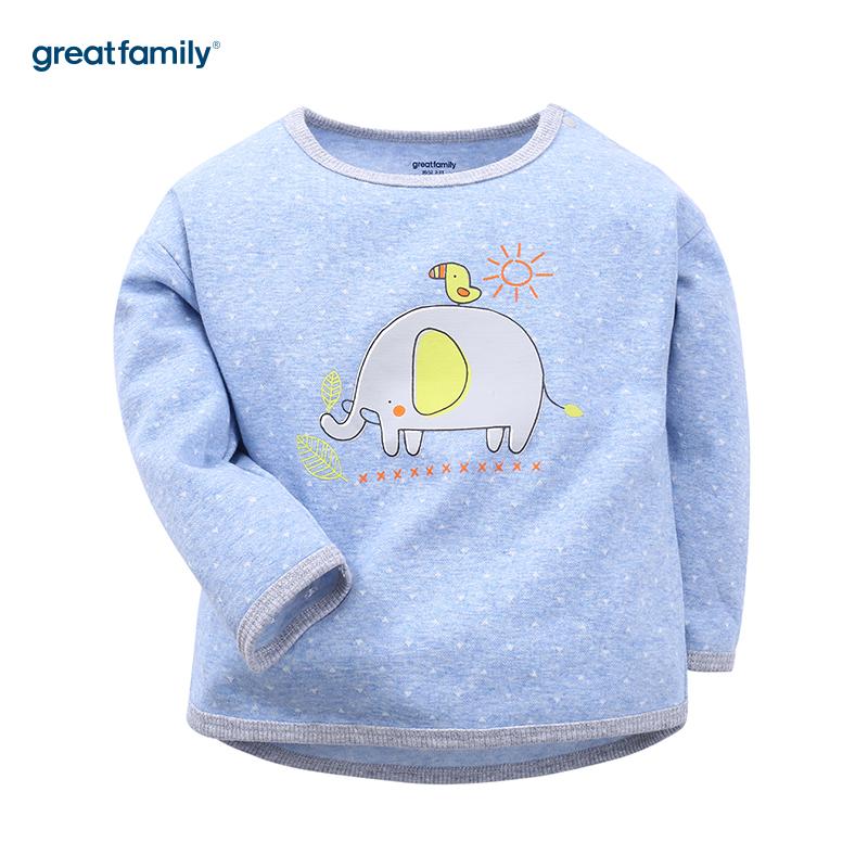 歌瑞家(婴外)A类萌动精灵蓝色男提花T恤