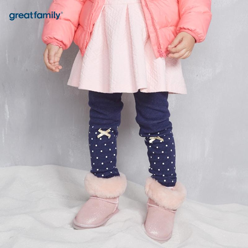 歌瑞家(Greatfamily)A类女童藏青色定位花型加绒针织裤打底裤/靴裤