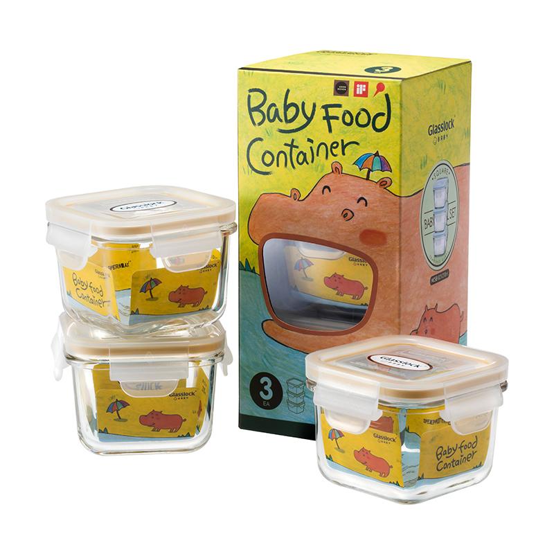 韩国Glasslock Baby网河马卡通彩盒 方形婴儿辅食盒3件套