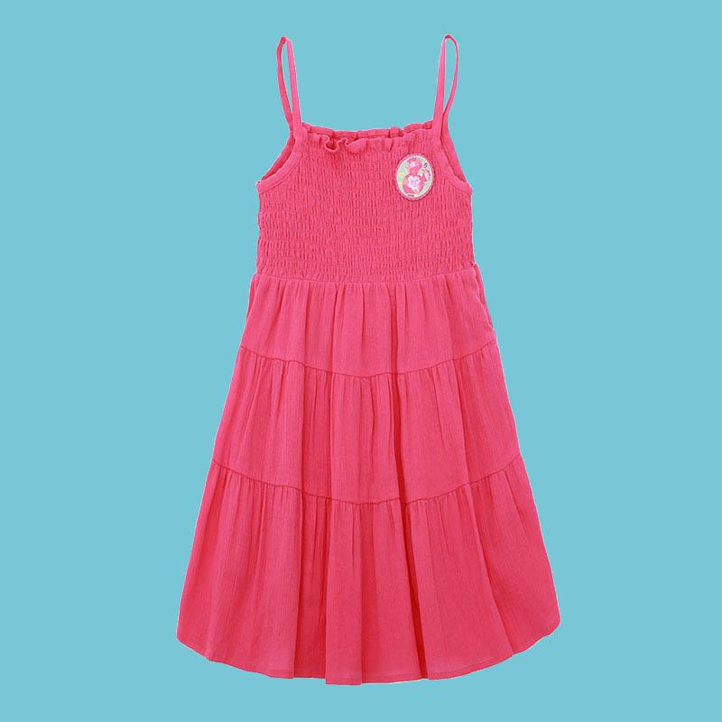 歌瑞家A类女童枚红色梭织连衣裙