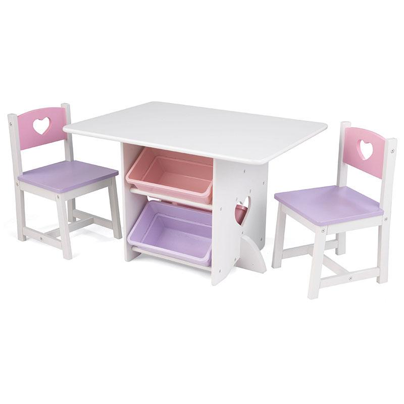KidKraft心形储物桌椅 粉紫