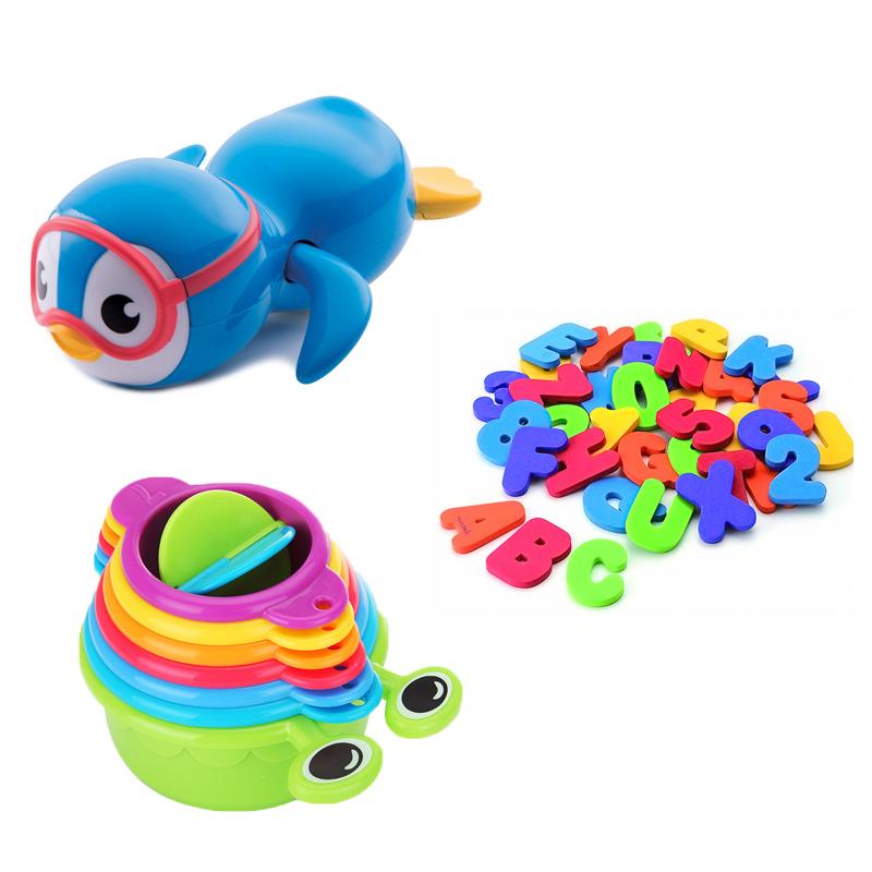【乐海淘】美国满趣健Munchkin 字母与数字泡澡闪卡+毛毛虫洗澡玩具+自由泳小企鹅洗澡玩具 海外直邮
