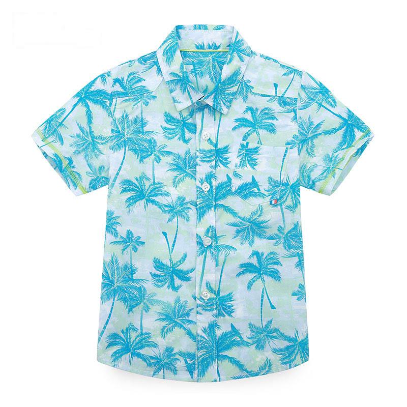 歌瑞家夏季A类纯棉男童花色梭织短袖衬衣