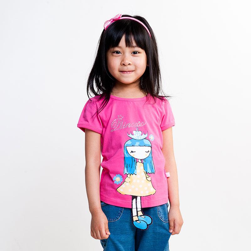 女童炫色立体图案短袖T恤(夏)