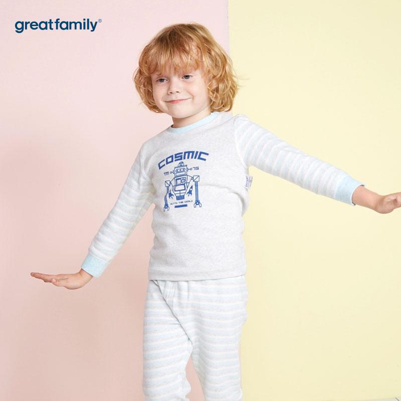 歌瑞家(Greatfamily)A类男童混色舒绒印花长袖圆领/内衣/家居服