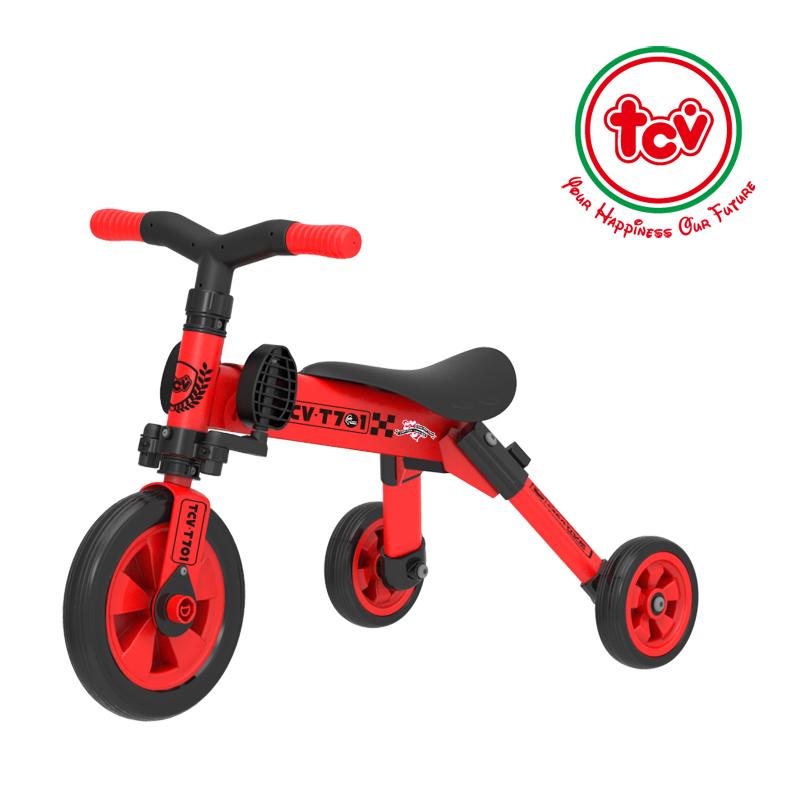 【乐海淘】台湾TCV二合一折叠式儿童滑步三轮车T701 红 海外直邮