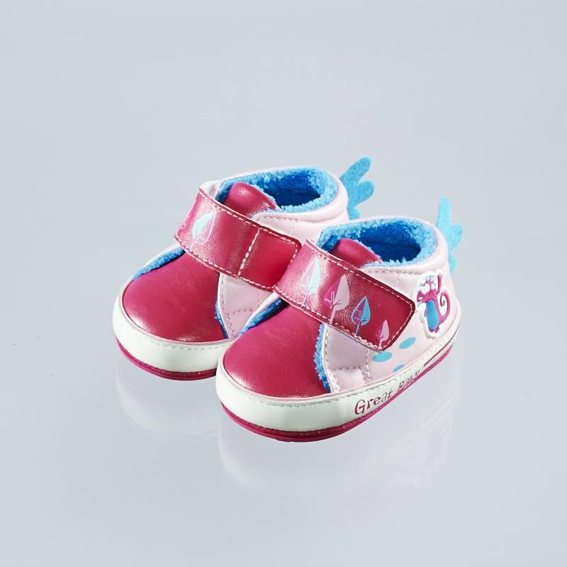 歌瑞贝儿(新)--小怪兽保暖婴儿鞋GB144-044SH梅红11CM