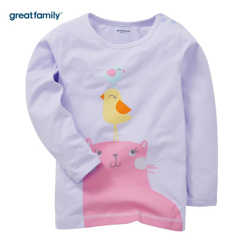歌瑞家(Greatfamily)A类女童紫色印花圆领长袖内衣/家居服