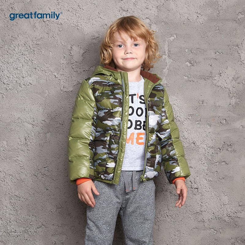 歌瑞家(Greatfamily)A类男童混色迷彩花型拼接色连帽棉羽绒服