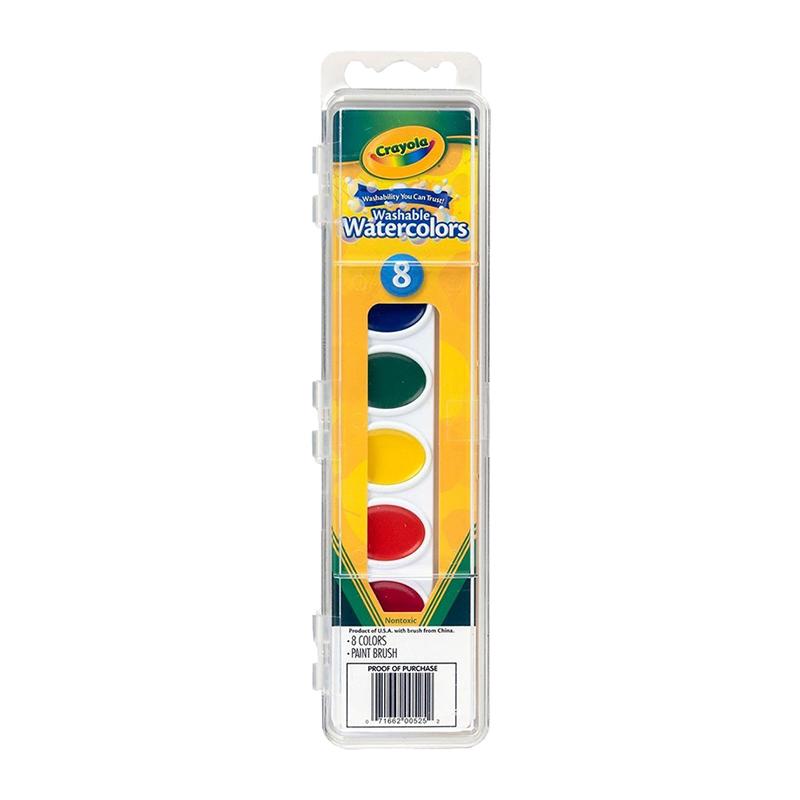 【全球购】美国Crayola绘儿乐8色儿童绘画固体水彩颜料可水洗带画刷3岁以上保税区直发