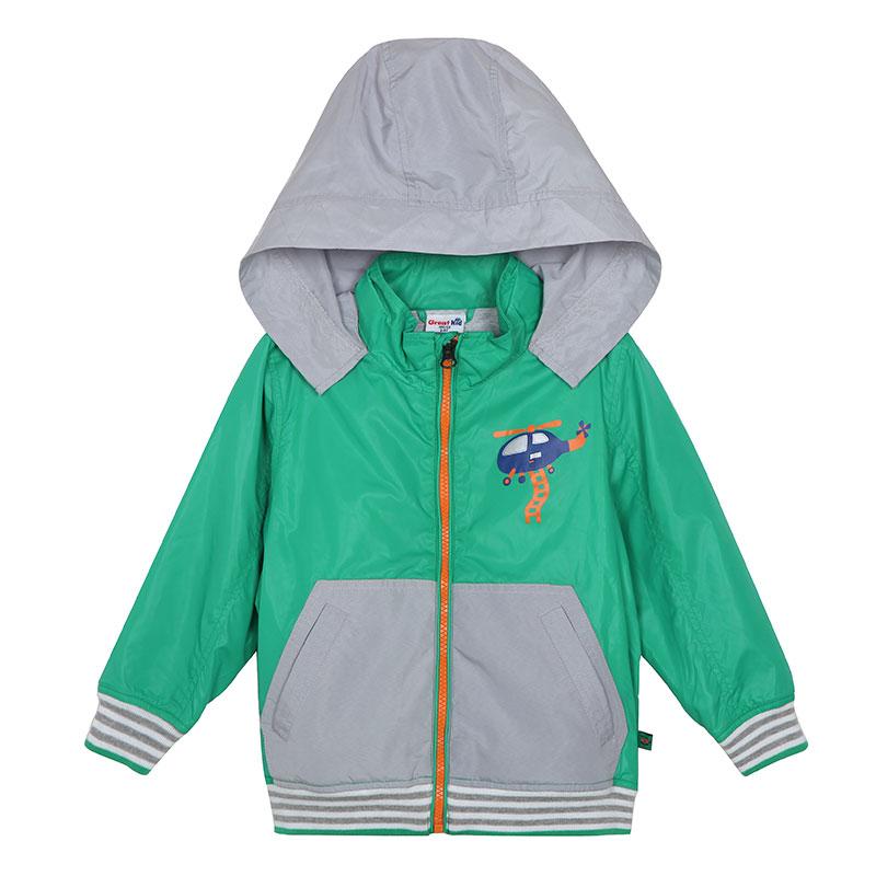 歌瑞凯儿A类男童绿色连帽轻薄梭织夹克