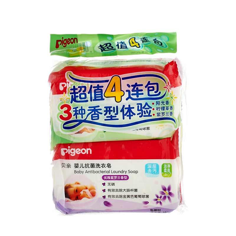 Pigeon贝亲婴儿抗菌洗衣皂120g*4块天然植物性清洗成分,专为婴幼儿衣物清洁而设计,植物清洁成分,温和抗菌