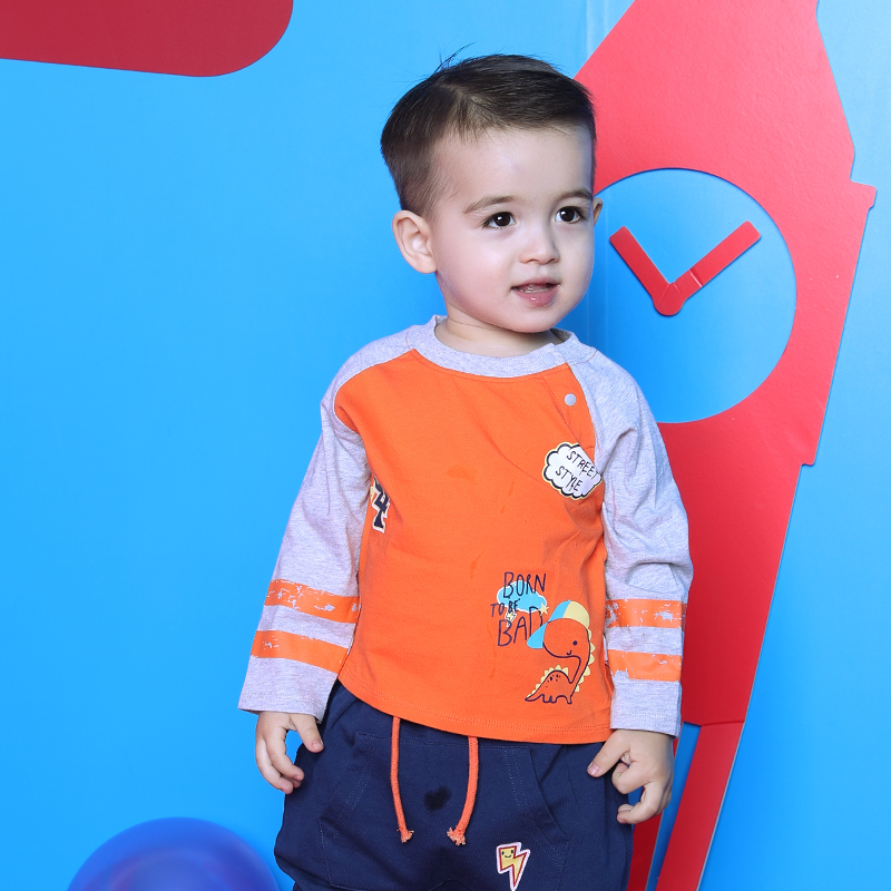 歌瑞家greatfamilyA类橙色男婴T恤