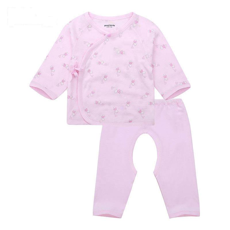歌瑞家A类女宝宝粉色竹纤维和短袍套装