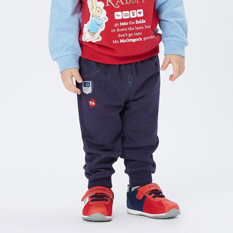 歌瑞家greatfamilyPeterRabbitA类牛仔色男婴针织牛仔裤