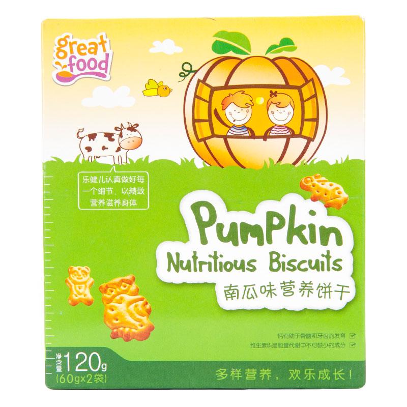 乐健儿GreatFood南瓜味牛奶营养饼干120g/盒