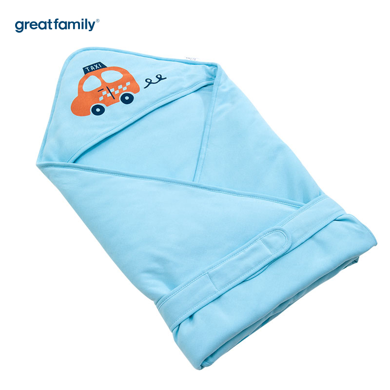 歌瑞贝儿针织色织条抱被小汽车款90*90cm蓝色