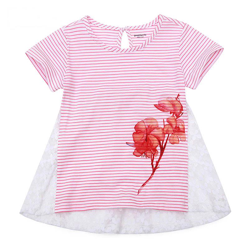 歌瑞家A类女童粉色圆领针织T恤