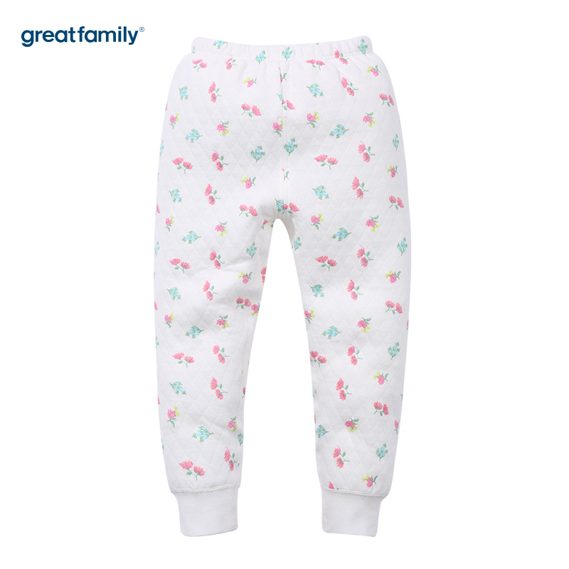 歌瑞家(Greatfamily)A类女童花色三保暖印花长裤/家居裤