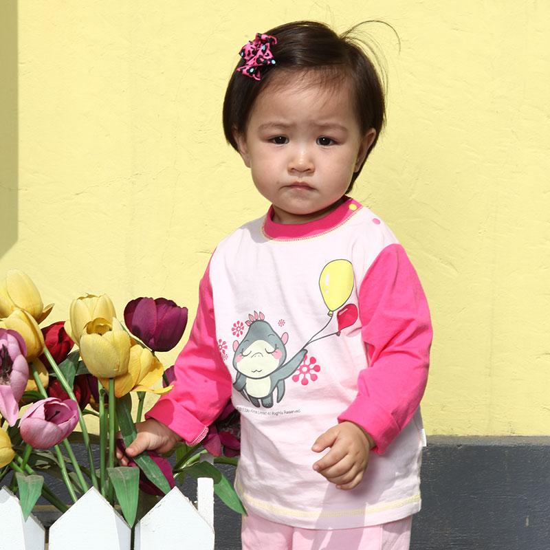 歌瑞贝儿A类女婴粉色纯棉插肩袖T恤捉妖记独家授权婴装