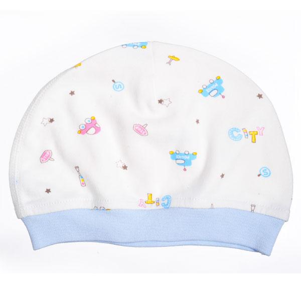 歌瑞贝儿--40支双面布初生婴儿帽/头围40cm/城市交通(蓝-40)