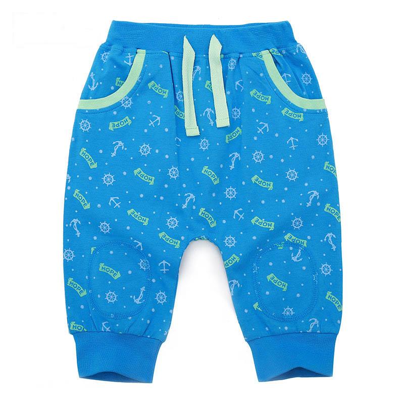 歌瑞家夏季A类纯棉男童蓝色针织七分裤
