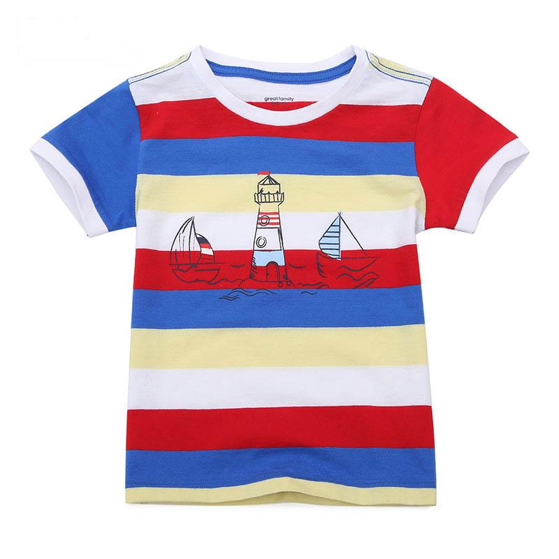 歌瑞家夏季A类纯棉男童混色圆领针织T恤