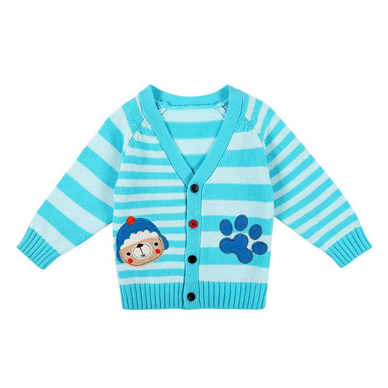 歌瑞家A类男婴蓝色纯棉条纹开衫毛衣