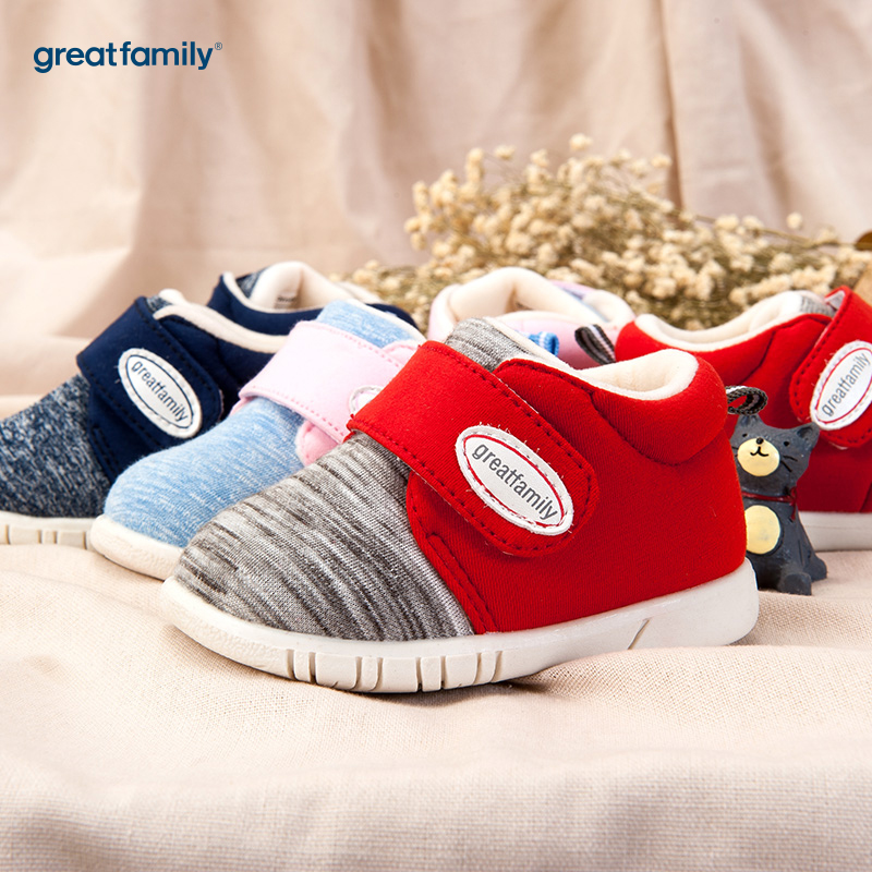 歌瑞家(greatfamily)男婴素色宝宝鞋红色