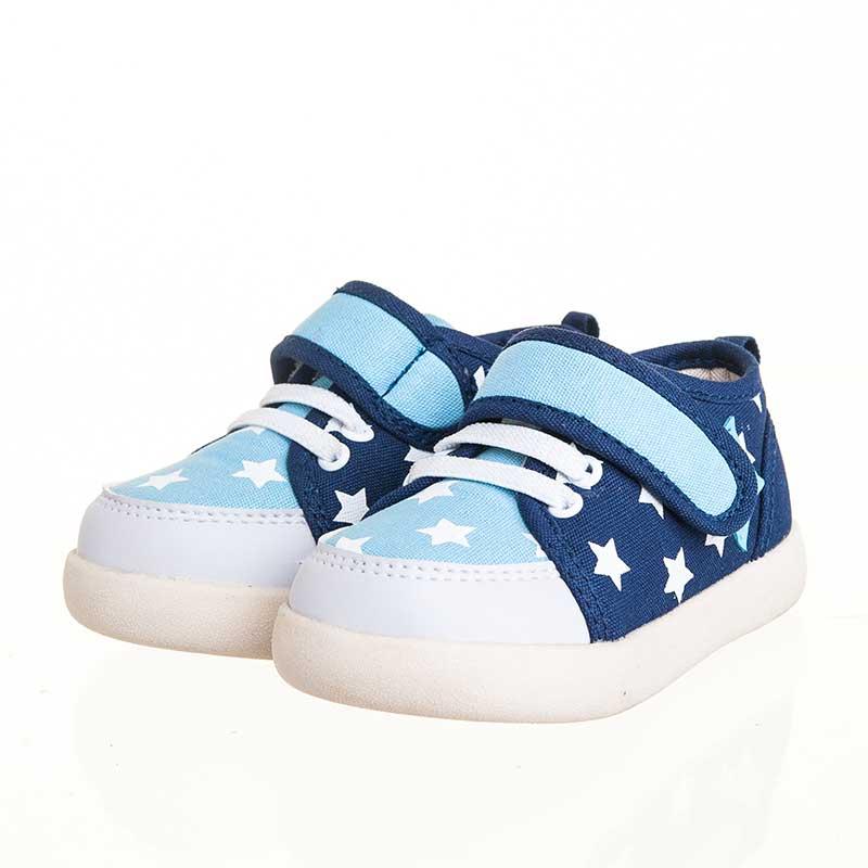 歌瑞贝儿(新)--星星学布鞋(男婴儿鞋)GB143-030SH蓝13.5CM