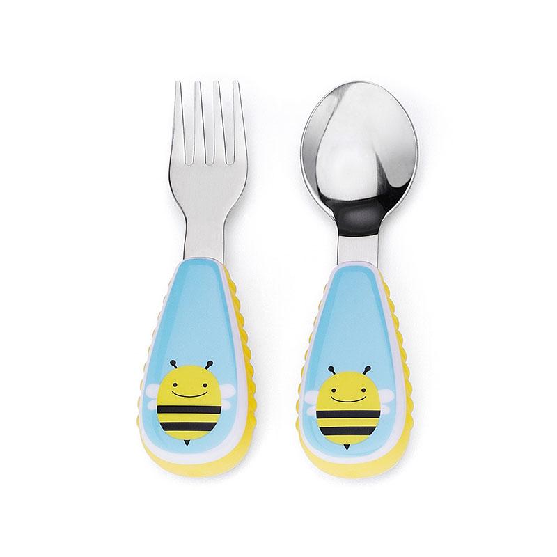 skiphopzootensils可愛動物園餐具叉及匙 - 小蜜蜂2个/套